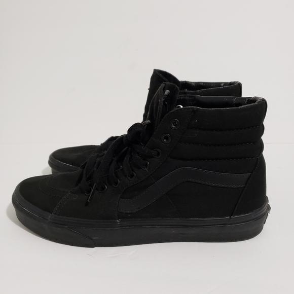 Vans SK8 HI Mens Size 11 All Black Canvas Lace Up